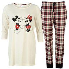 0897202458 Ladies Licensed Disney Minnie Mouse Long Sleeve Pyjamas