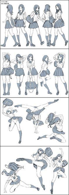 Poses-Colegiala// Excuse the flashing, but some helpful pose models Art Poses, Drawing Poses, Manga Drawing, Figure Drawing, Drawing Reference, Manga Art, Drawing Sketches, Art Drawings, Drawing Stuff