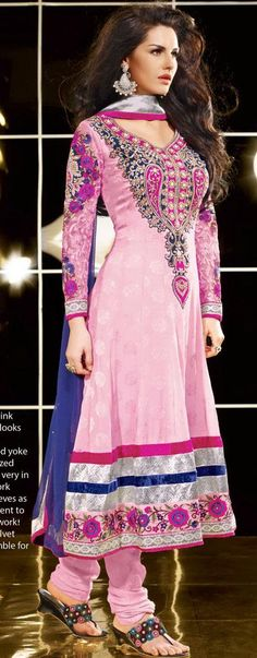 $127.77 Pink Thread Work Full Sleeve Long Anarkali Style Salwar Suit 24421