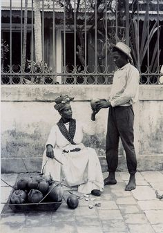 Coconut Seller, Pointe-a-Pitre, Guadeloupe Southern Caribbean, Caribbean Art, West Indies, Vintage Photographs, Vintage Images, Commonwealth, Haiti, Trinidad, Jamaica