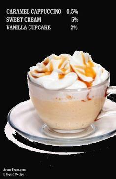 Pour un savoureux e liquide de cigarette électronique Cappuccino Caramel, une recette diy parfaite ! #vape #diy #ecig #eliquid