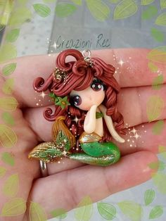 Genuine Porcelain China Made In Japan Polymer Clay Mermaid, Cute Polymer Clay, Cute Clay, Polymer Clay Dolls, Polymer Clay Miniatures, Polymer Clay Charms, Polymer Clay Projects, Polymer Clay Creations, Clay Crafts