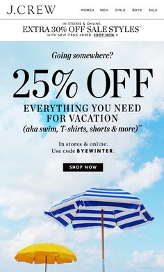 J.Crew - Take 25% off everything you need for vacation