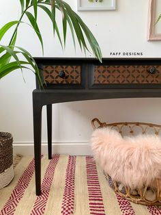 A Stag Minstrel makeover in black and natural wood with stencil detail. Add some boho chic to your home Patterned Furniture, Black Furniture, Cool Furniture, Painted Furniture, Diy Furniture Projects, Furniture Makeover, Living Room Inspiration, Interior Inspiration, Painted Sideboard
