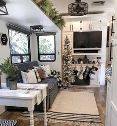 B E F O R E + A F T E R >> We have the tree decorated and the stockings are hung! Still working on decorating the mantle but couldn't… Tiny House Living, Rv Living, Diy Camper, Camper Life, Rv Campers, Trailer Decor, Rv Interior, Camper Makeover, Camper Renovation