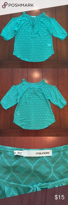 Maurice's Flowy Teal Cold Shoulder Blouse NWOT. Flowy aztec sheer blue/green cold shoulder top. Needs layering. No trades. Open to offers! Maurices Tops Blouses