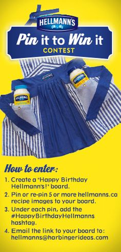 To celebrate Hellmann's 100th Birthday, we're giving away 1 of 50 custom aprons and more! Contest closes at 11:59 p.m. on October 4, 2013. For full terms & conditions, click on the image.