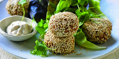 Meat-Free Monday is sorted! Sunflower Seed Falafel Balls with Tahini Dipping Sauce.