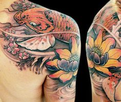 Japanese Nature Tattoo by Led Coult Tattoo Nature Tattoos, Body Art Tattoos, Sleeve Tattoos, Tatoos, Japanese Tattoo Designs, Japanese Tattoos, Japanese Nature, Tattoo Skin, Tattoo Photography