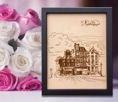 Lik182 Leather Engraved Netherlands Amsterdam street Honeymoon third anniversary personalized gift