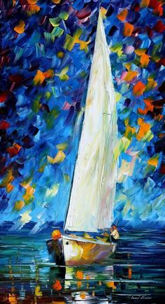 OIL ON CANVAS PAINTING DIRECTLY FROM FAMOUS ARTIST LEONID AFREMOV  Title: White Sail Size: 20 x 36 (50 cm x 90 cm) Condition: Excellent Brand new Gallery Estimated Value: $ 4,500 Type: Original Recreation Oil Painting on Canvas by Palette Knife  This is a recreation of a piece which was already sold.  Its not an identical copy, its a recreation of an old subject. This recreation will have texture unique just to this painting, a fingerprint that can never be repeated. My recreation will look…