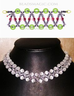 Free pattern for the Ice Lady necklace Free pattern for Pearl Necklace Ice Lady Pearl magic Beading Patterns Free, Bead Loom Patterns, Beading Tutorials, Free Pattern, Diy Necklace Patterns, Beaded Jewelry Patterns, Beaded Crafts, Diy Schmuck, Loom Beading