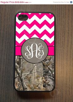 ON SALE Monogram Hot Pink Chevron and Camo Rubber Case Fits iPhone 4/4S iPhone5/5S/5C Samsung Galaxy S3/S4 on Etsy, $11.33