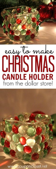 DIY Dollar Store Christmas Candle Holder - Dollar Store Craft Idea Oh yes! You really can make this beautiful Christmas Candle Holder from items at the Dollar store. Decor doesn't have to cost you a fortune! Diy Christmas Decorations, Christmas Centerpieces, Christmas Crafts For Kids, Homemade Christmas, Diy Christmas Gifts, Christmas Projects, Holiday Crafts, Christmas Ideas, Centerpiece Ideas