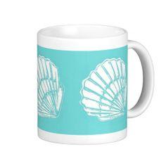 Seashells with Turquoise Mug; Abigail Davidson Art; ArtisanAbigail at Zazzle