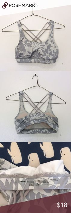 AerieFloral Strappy Sports Bra Gray floral print Removable padding Strappy back  In excellent preowned condition! aerie Intimates & Sleepwear Bras