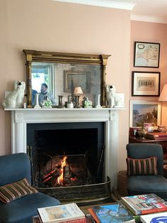 He Thinks That All Wall Mirrors Are Tacky | Laurel Home - photo I took when visiting Ben Pentreath's home in Dorset! Lucky me! I adore his fireplace mantel. Come check out more of his gorgeous home in the post.