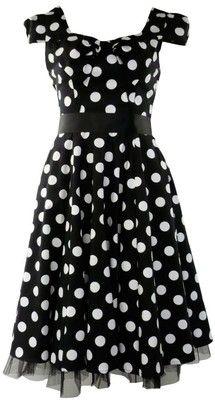 50's Vintage Tea Prom Dress Big Polka Dot Black & White: Clothing