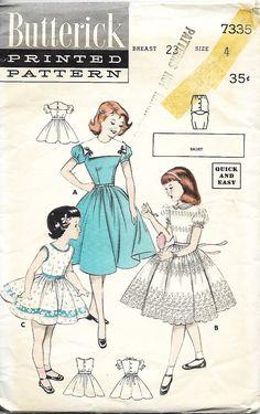 b438d344f 1950 s Butterick 7335 Girls Dress Sewing Pattern