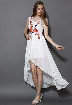 Bridal Shower Floral Embroidered Asymmetric Chiffon Dress - New Arrivals - Retro, Indie and Unique Fashion Led Dress, Dress Up, Unique Fashion, Miss Girl, Retro Dress, Asymmetrical Dress, Fashion Brand, Women's Fashion, Chiffon Dress