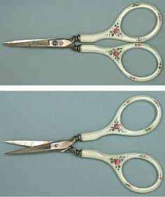 Guilloche Rose Silver Embroidery Scissors - Circa Early 1900s