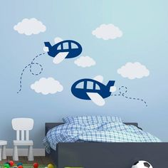 Plane Wall Decal Cloud Decals Airplane Sticker Vinyl Nursery Boy Room Bedroom Decor Interior Home Art Ideas Window Door Decal Boys Bedroom Furniture, Diy Kids Furniture, Boys Bedroom Decor, Bedroom Ideas, Furniture Stores, Cheap Furniture, Lego Bedroom, Inexpensive Furniture, Furniture Websites