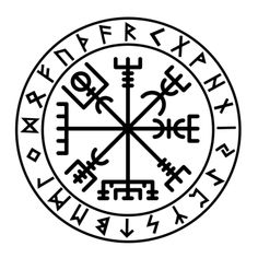 FUTHARK VEGVISIR    This is our Runic Vegvisir decal. The Vegvisir is sometime called the Icelandic Rune Compass, a magical symbol to guide you through life and ensure that you never lose your way. Although magic from different eras the Vegvisir looks great with the runes of the elder futhark and the combination is a powerful one. Famously odd Icelandic songstress, Bjork, has a Vegvisir tattoo on her upper arm.