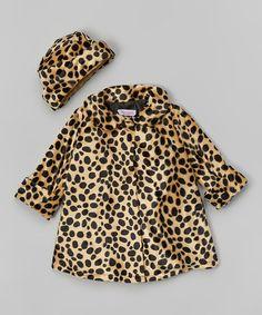 Kids Dream Champagne & Black Spot Faux Fur Swing Coat & Hat | zulily