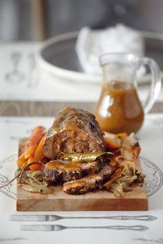 Βοδινό+στον+φούρνο+με+σάλτσα+γκρέιβι