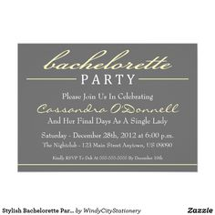 Stylish Bachelorette Party Invitations (Yellow)