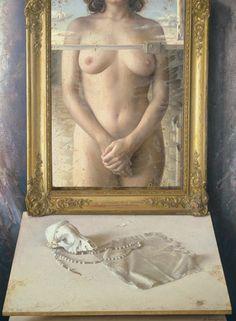 Eduardo Naranjo - DESNUDO DE MUJER EN UN ESPEJO. 1982. Óleo sobre lienzo. 82 x 61 cm.
