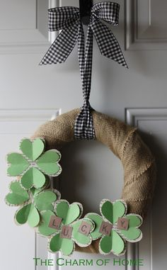 The Charm of Home: Recycling a Wreath for Spring Wreath Crafts, Diy Wreath, Decor Crafts, Wreath Ideas, St Paddys Day, St Patricks Day, Saint Patricks, Book Crafts, Crafts To Do