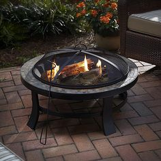 """BBQ Pro Round Firepit with Slate Tile Top, 30 W x 19"""" H"""
