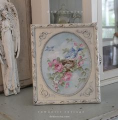 Shabby Chic Bluebird and Roses Painting in Antique Frame by Debi Coules