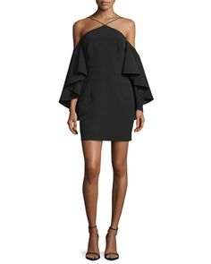 Cold-Shoulder+Bell-Sleeve+Ponte+Dress,+Black+by+Milly+at+Neiman+Marcus.