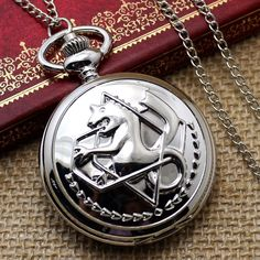 Silver Fullmetal Alchemist Quartz Pocket Watch