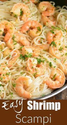Shrimp Recipes For Dinner, Shrimp Recipes Easy, Seafood Dinner, Seafood Recipes, Healthy Recipes, Delicious Pasta Recipes, Free Recipes, Shrimp Scampi Pasta, Healthy Shrimp Scampi