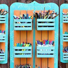 Art Supplies Storage, Craft Room Storage, Diy Supplies, Dollar Tree Store, Dollar Tree Crafts, Crate Crafts, Small Craft Rooms, Baby Shower, Diy Organization