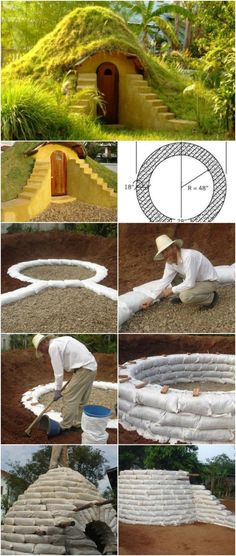 Earthbag Hobbit Hole Casa Dos Hobbits, Earth Bag Homes, Jardin Decor, Building A Chicken Coop, House Building, Green Building, Earthship, Outdoor Projects, Play Houses