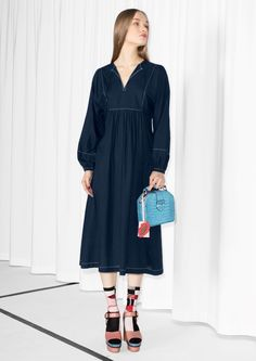 Other Stories image 1 of Relaxed Cotton Dress in Blue