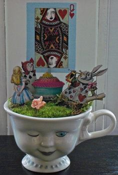 This is a new series of assemblage art I have been working on...Teacup Gardens. Each garden is made from a vintage teacup, moss, and found