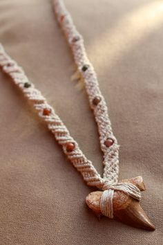 Sharks Tooth Macrame Hemp Necklace  by PerpetualSunshine111