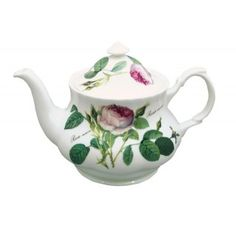 Redoute Rose Large Round Teapot in Fine Bone China