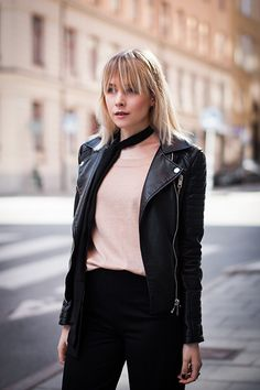 Leather jacket, nude top & culottes