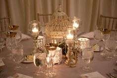 Mismatched gold and candle centerpieces Bird Cage Centerpiece, Candle Centerpieces, Wedding Centerpieces, Wedding Table, Our Wedding, Dream Wedding, Wedding Decorations, Wedding Stuff, Wedding Flowers