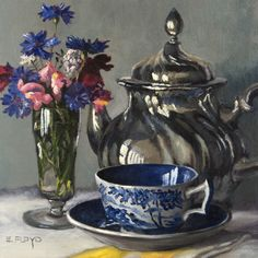Afternoon Tea by Elizabeth Floyd, 8 x 8 inches, oil on linen panel