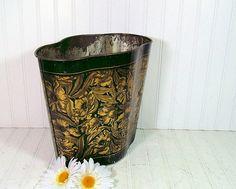 Vintage Black & Gold Fluted Metal Waste Can - Antique TinDeco Catch All Bin - Early Litho Trash Basket