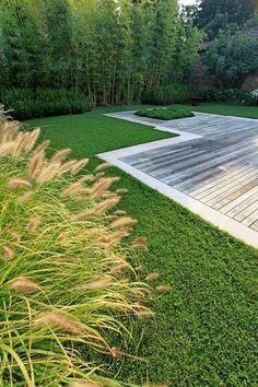 framed deck at soil grade contemporary garden - design by Silvia Ghirelli, Contemporary Garden Design, Contemporary Landscape, Landscape Design, Deck Design, Modern Landscaping, Backyard Landscaping, Backyard Ideas, Design Jardin, Garden Architecture