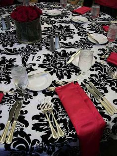 Tuxedo Damask by Connie Duglin Linen. Exquisite line of linens for all styles and occasions. We proudly offer this companiesproduct. Damask Wedding, Red Wedding, Wedding Season, Fall Wedding, Wedding Stuff, Red Black, Black And White, Birch Trees, Wedding Decorations