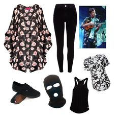 """Tyler Joseph floral kimono inspired look"" by keela98 ❤ liked on Polyvore featuring Boohoo, River Island, Vans, Scotch & Soda and Equipment"